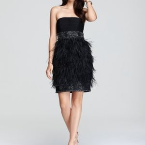 Sue Wong Ostrich Feather strapless cocktail Dress